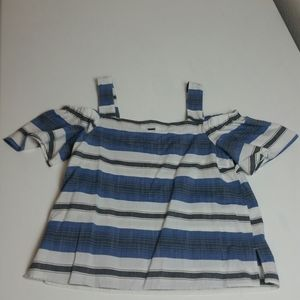 lucky Brand cold shoulder striped top nwot